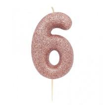 Bougie Chiffre Six Glitter Rose Cuivré Rose Gold Anniversaire