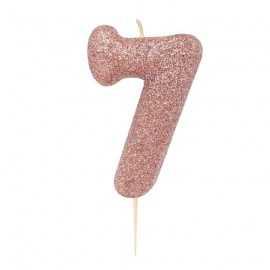 Bougie Chiffre Sept Glitter Rose Cuivré Rose Gold Anniversaire