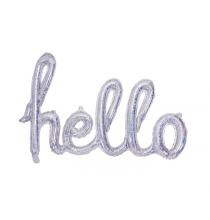 Ballon Hello - Mot Argent Holographique Décoration de fête