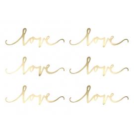 Love Doré en Papier Brillant - Décoration de table