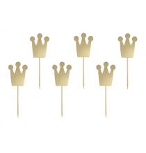 Piques couronnes dorés métallisé anniversaire prince et princesse