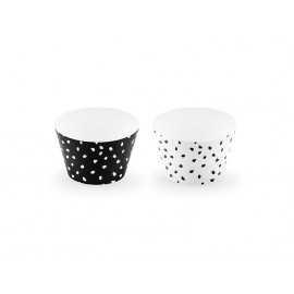 Contours à Cup Cakes à Pois noir et blanc - effet irrégulier