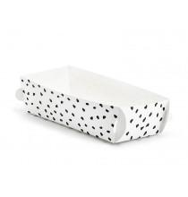 Boîtes à Gâteaux Blanches à pois noirs - effet irrégulier