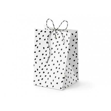 Boîtes Cadeaux Invités - Pois noir et blanc effet irrégulier