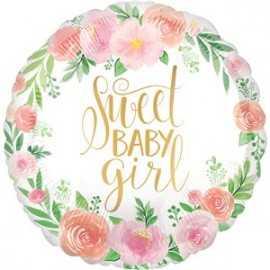 Ballon Alu Sweet Baby Girl Motifs Liberty Fleurs Roses Vintage