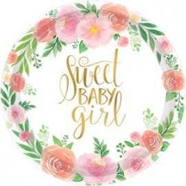 Grandes Assiettes Premium Sweet Baby Girl Motifs Liberty Fleurs Roses Vintage