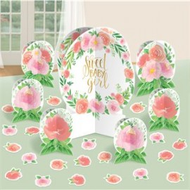 Kit Décoration de Table Sweet Baby Girl Motifs Liberty Fleurs Roses Vintage