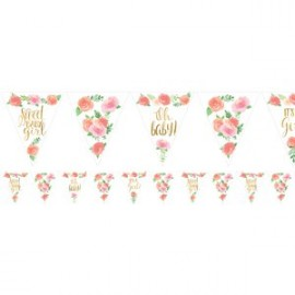 Banderole à Fanions Triangles Sweet Baby Girl Motifs Liberty Fleurs Roses Vintage