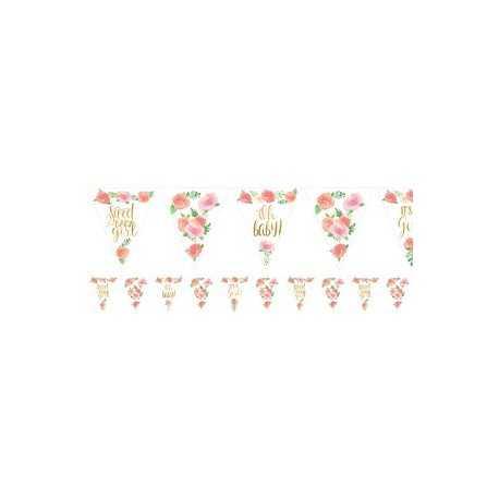 Banderole à Fanions Triangles Sweet Baby Girl Motifs Liberty Fleurs Roses Vintage