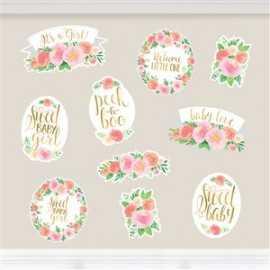 12 Décorations Papier Sweet Baby Girl Motifs Liberty Fleurs Roses Vintage