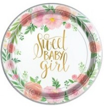 Petites Assiettes Premium Sweet Baby Girl Motifs Liberty Fleurs Roses Vintage