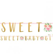 Banderole Lettres Sweet Baby Girl Motifs Liberty Fleurs Roses Vintage