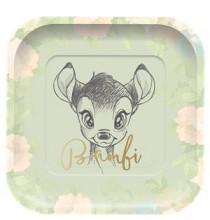 Grandes Assiettes Carré Fête Thème Bambi - Disney Vintage Collection Premium