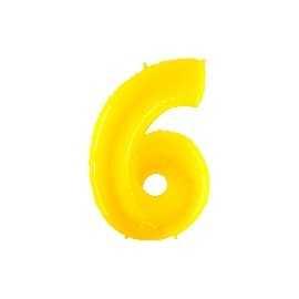 Ballon Géant Alu Jaune 6 Ans Fête d'Anniversaire enfant