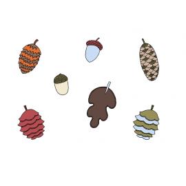 7 Décorations Glands et Cônes de Pins en Papier Anniversaire Rusé comme un renard