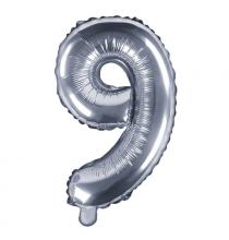 Ballon 35cm Alu Argent Chiffre 9 Ans Fête d'Anniversaire enfant