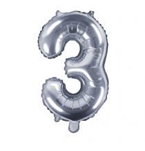Ballon 35cm Alu Argent Chiffre 3 Ans Fête d'Anniversaire enfant