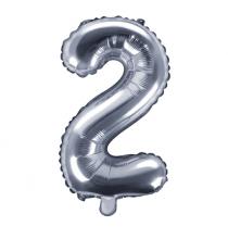 Ballon 35cm Alu Argent Chiffre 2 Ans Fête d'Anniversaire enfant