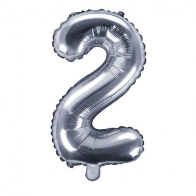 Ballon 35cm Chiffre Numero 2 Argent Pour Feter Un Anniversaire