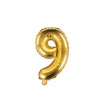 Ballon 35cm Alu Doré Chiffre 9 Neuf Fête d'Anniversaire enfant