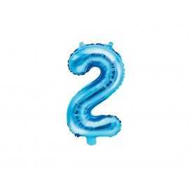 Ballon 35cm Alu Bleu Chiffre Deux Fête d'Anniversaire enfant