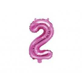 Ballon 35cm Alu Rose Chiffre 2 Ans Fête d'Anniversaire enfant