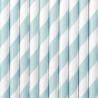 10 Pailles Rétro Rayées Bleu Pastel et Blanc