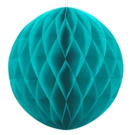 Mini Boule Alvéolée Papier Bleu Turquoise 10cm à l'unité