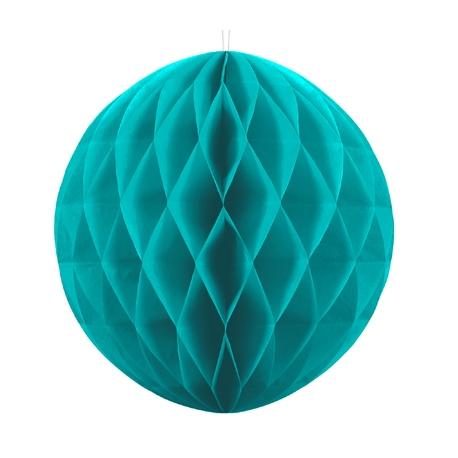 Boule Alvéolée Papier Bleu Turquoise 20cm à l'unité