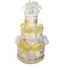 Gâteau de couches Gris jaune J'aime Maman et Papa en Pampers