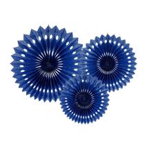 3 Grandes Rosaces Eventail Bleu Marine Papier de Riz