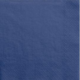 Grandes Serviettes Cocktail Papier Carré Bleu Marine Vaisselle Jetable de Fête