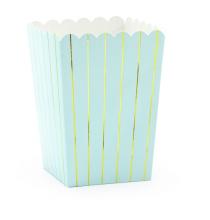 Boîtes Pop Corn Vert Pastel et Doré - Vaisselle jetable