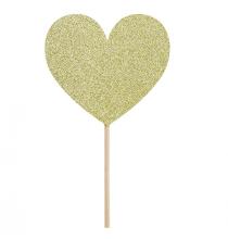 6 piques cup cakes coeur glitter doré