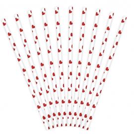 10 Pailles Rétro Petits Coeurs Rouges