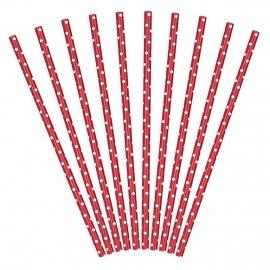10 Pailles Rétro Pois Blanc sur Rouge