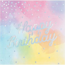 Serviettes Happy Birthday Pastel & Holographique Brillant