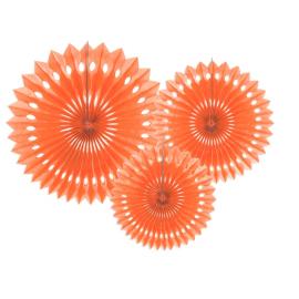 3 Grandes Rosaces Eventail Pêche / Orange Clair Papier de Riz