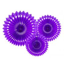 3 Grandes Rosaces Eventail Violet Papier de Riz