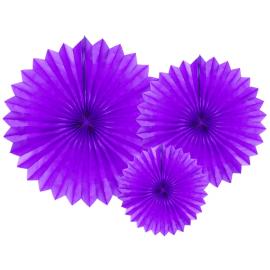 3 Grandes Rosaces Eventail Violet Papier de Riz - Pointue