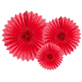 3 Grandes Rosaces Eventail Rouge Papier de Riz