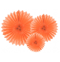 3 Grandes Rosaces Eventail Orange Clair Papier de Riz - Pointu