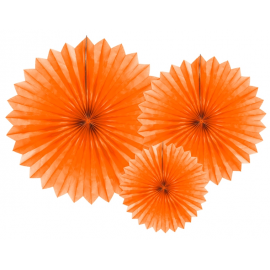 3 Grandes Rosaces Eventail Orange Papier de Riz - Pointu
