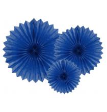 3 Grandes Rosaces Eventail Bleu Marine Papier de Riz - Pointu