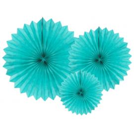 3 Grandes Rosaces Eventail Bleu-Vert Canard Papier de Riz - Pointu