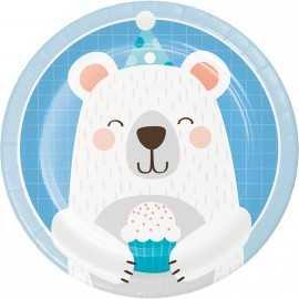 Assiettes Forme Tête d'Ours polaire - Anniversaire Banquise & Ours blancs