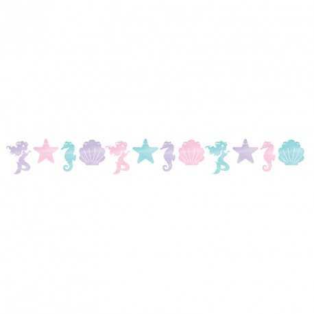 Banderole à Fanions Petite Sirène Holographique - Anniversaire et fête