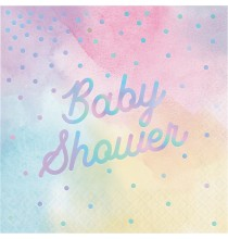Serviettes Baby Shower Pastel & Holographique