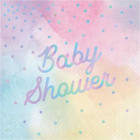 Serviettes Baby Shower Pastel & Holographique