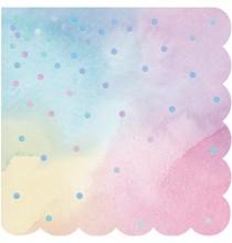 Serviettes Pastel à Pois Holographiques - Anniversaire